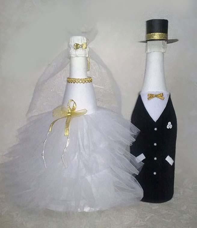 Оформление шампанского на свадьбу фото своими руками
