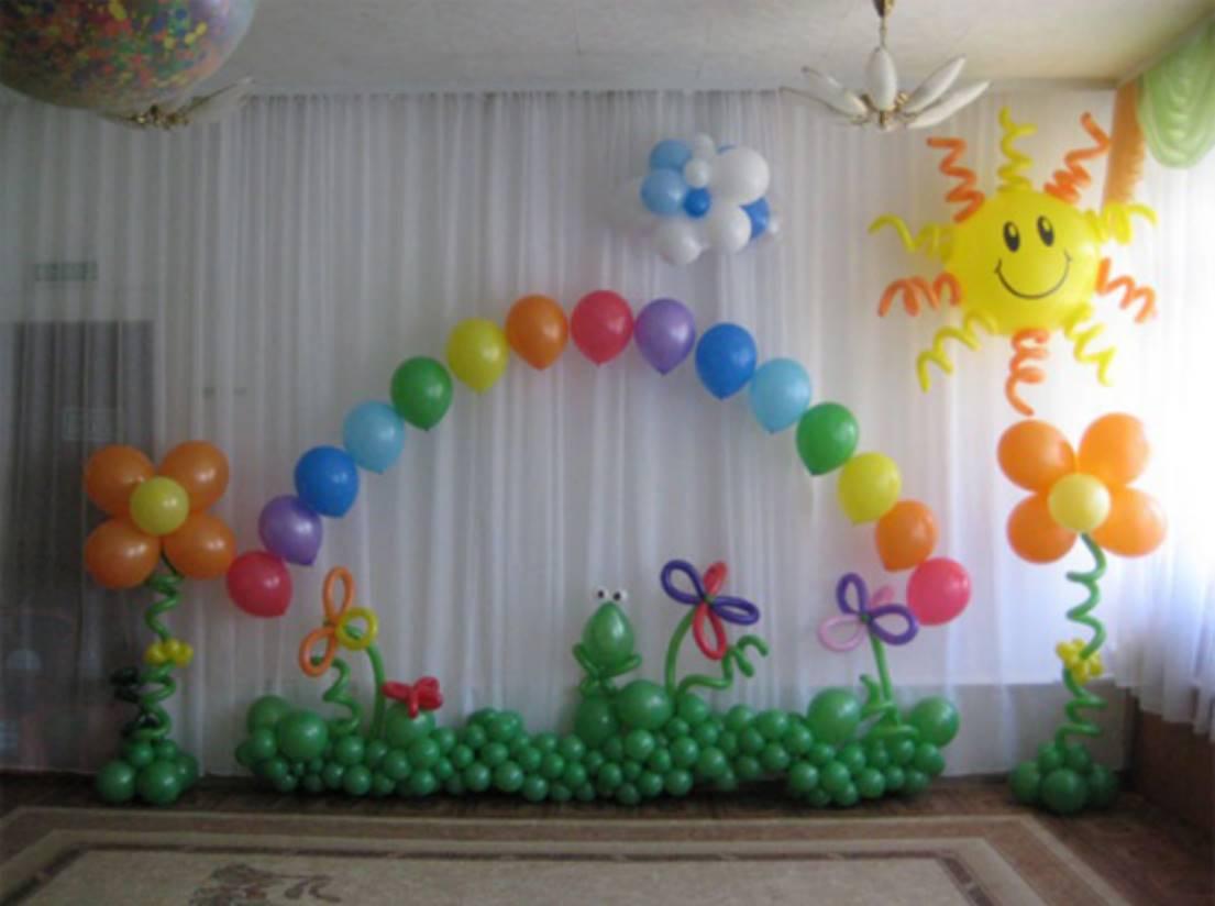 Украсить шарами зал в детском саду на выпускной своими руками