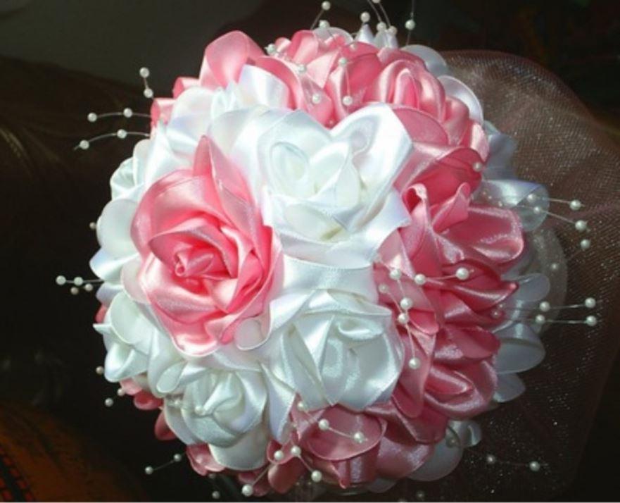 Как сделать розочки из ленты для букета для невесты