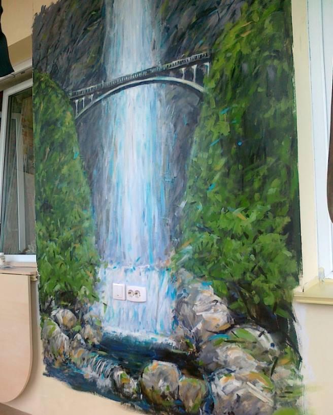 Проект: настенная роспись. водопад на балконе., автор мария .