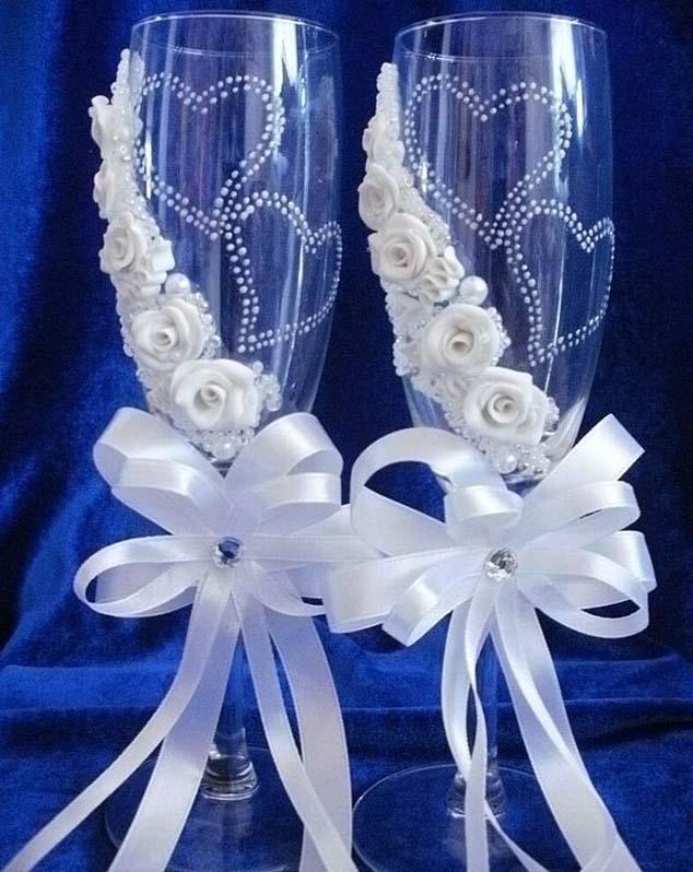 Свадебные фужеры из атласных лент своими руками