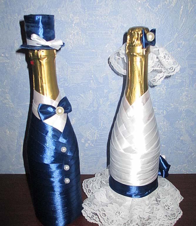 Украсить шампанское своими руками на свадьбу фото