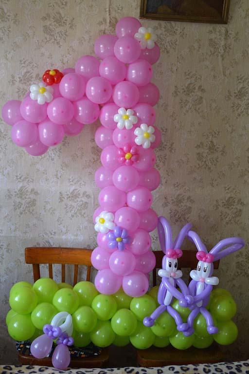 Как сделать цифру 1 из воздушных шаров своими руками