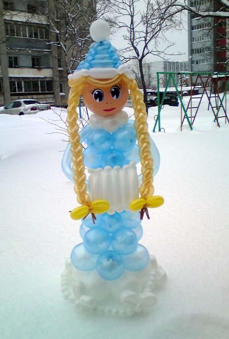 Снегурочка из шаров своими руками