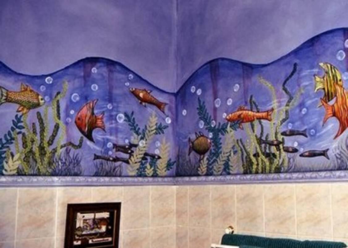 Рисунок на стенах в ванной своими руками 1
